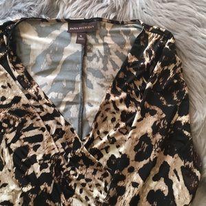 Dana Buchman leopard faux wrap dress - XL